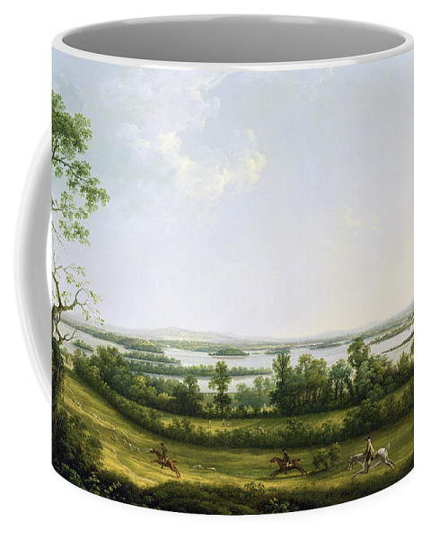 Lough Coffee Mug featuring the painting Lough Erne From Knock Ninney - With Bellisle In The Distance by Thomas Roberts