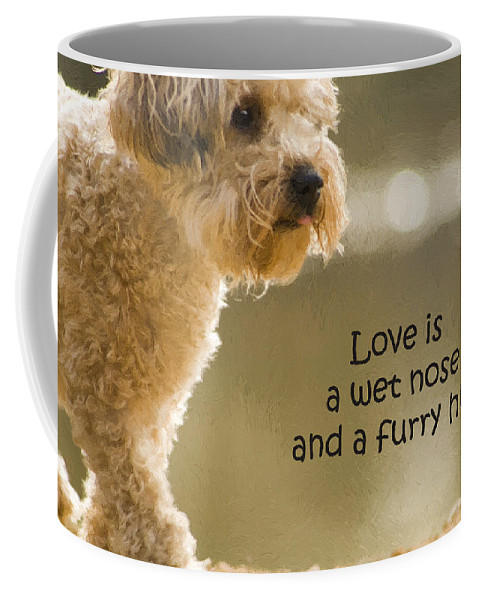 Love Coffee Mug featuring the photograph Love Is A Wet Nose And A Furry Hug by Kathy Clark