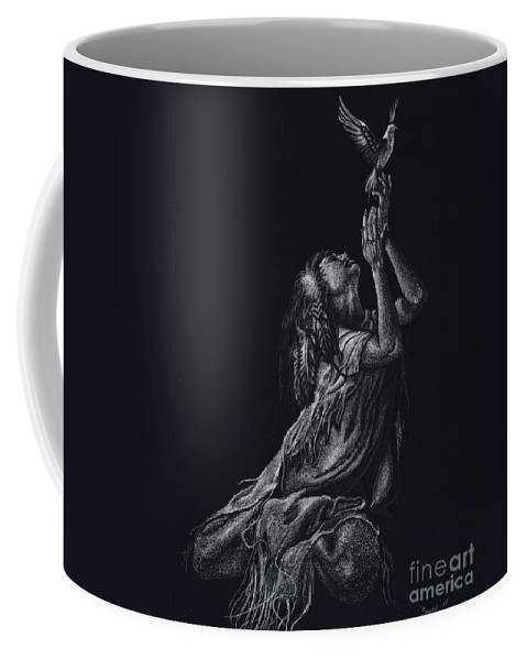 Indian Coffee Mug featuring the drawing Love Of Freedom by Yenni Harrison