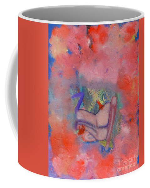 Love Romance Hot Passion Passionate Bodies Torso Vermillion Colorful Legs Embrace Clouds Coffee Mug featuring the painting Love On A Cloud by David Mintz