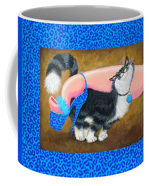 Cat Coffee Mug featuring the painting Love Pump Blue by Baron Dixon
