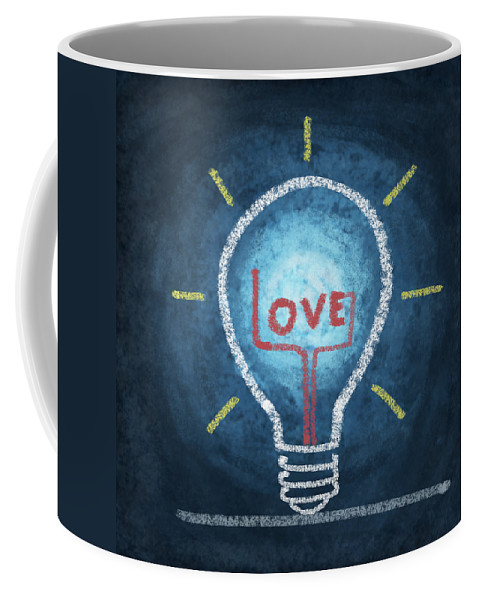 Attentive Coffee Mug featuring the photograph Love Word In Light Bulb by Setsiri Silapasuwanchai