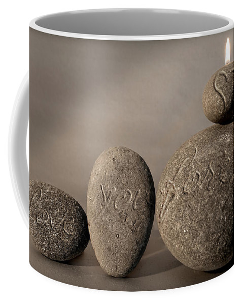 Photo Coffee Mug featuring the photograph love you forever - An engraved message gives light to a stone heart by Pedro Cardona Llambias