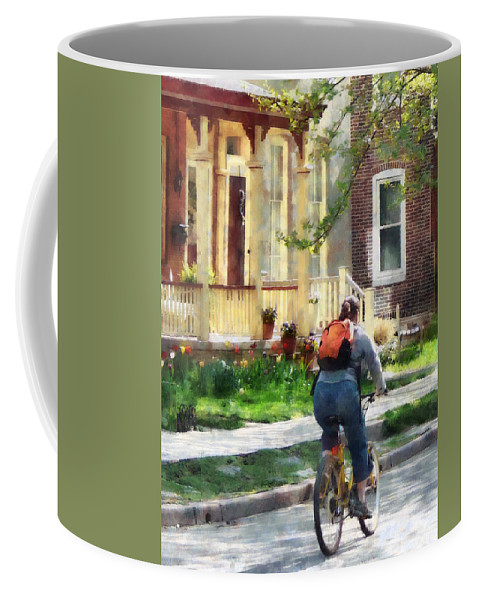 Bicycle Coffee Mug featuring the photograph Lovely Spring Day For A Ride by Susan Savad