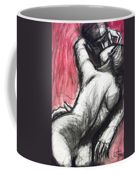 Original Coffee Mug featuring the painting Lovers - The Kiss3 -rodin by Carmen Tyrrell