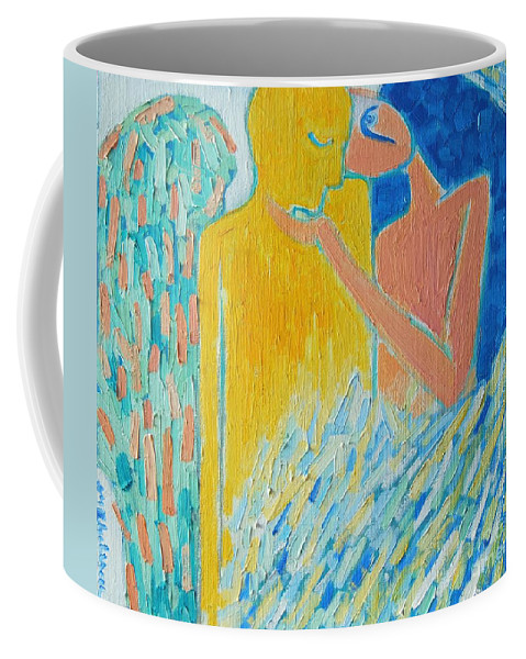 Oil Coffee Mug featuring the painting Loving An Angel by Ana Maria Edulescu
