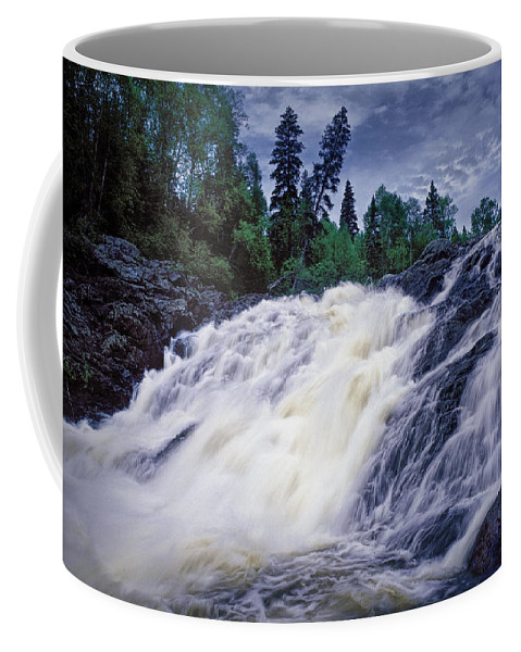 Art Coffee Mug featuring the photograph Lower Water Falls At Wawa Ontario by Randall Nyhof