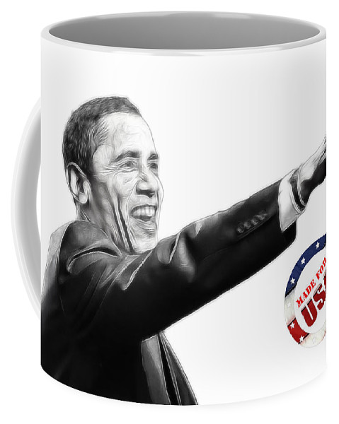 Barack Obama Water Watercolor Color Painting Texture President Usa Us 44 44th Coffee Mug featuring the digital art Made For Usa by Steve K