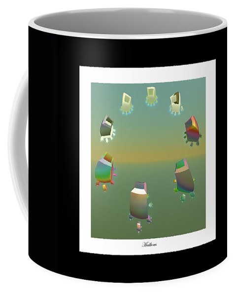 Fractal Coffee Mug featuring the digital art Mailboxes by Betsy Knapp