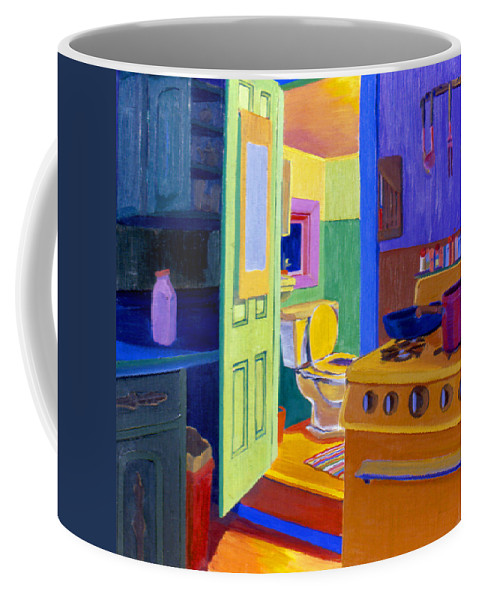 Bathroom Coffee Mug featuring the painting Malden Bathroom 1977 by Nancy Griswold