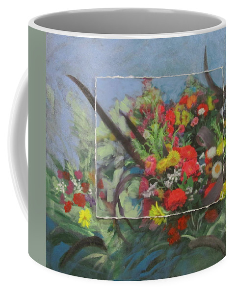 Flowers Coffee Mug featuring the mixed media Market Flowers by Anita Burgermeister