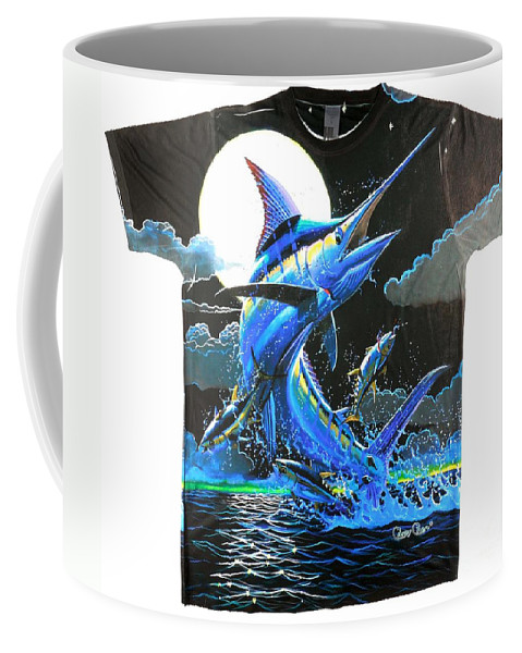 Marlin Coffee Mug featuring the digital art Marlin Moon Mens Shirt by Carey Chen