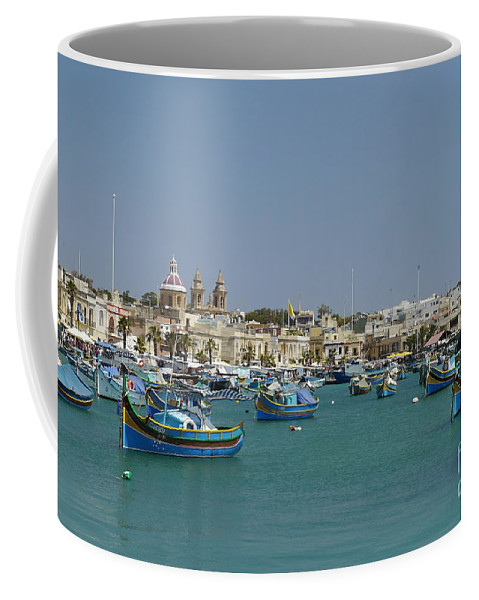 Marsaxlokk Harbour Coffee Mug featuring the photograph Marsaxlokk Harbour by John Chatterley