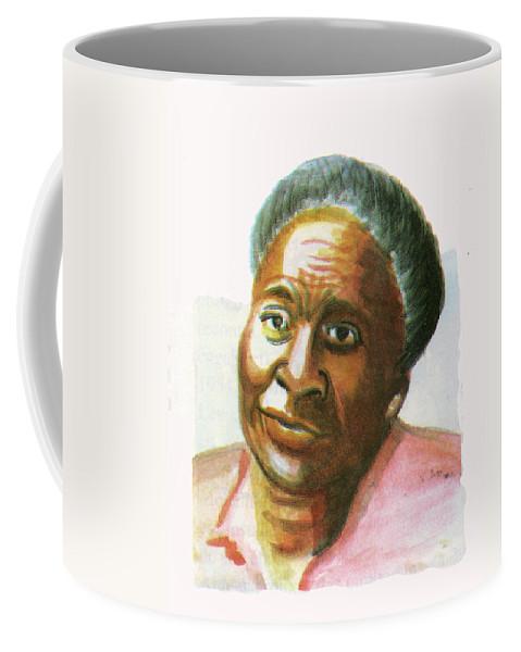 Maryse Conde Coffee Mug featuring the painting Maryse Conde by Emmanuel Baliyanga