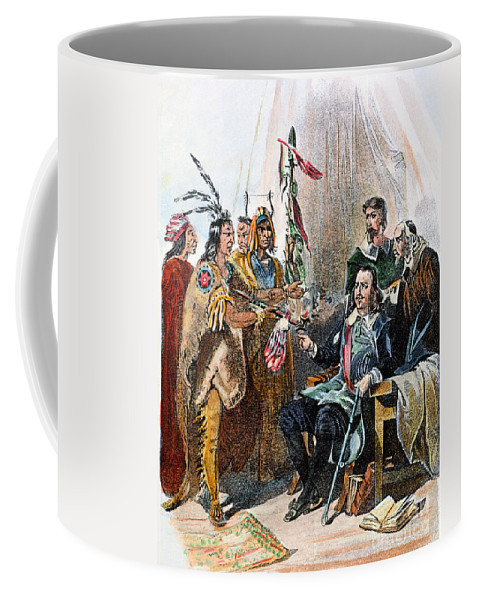 1620 Coffee Mug featuring the photograph Massasoit & Carver, 1620 by Granger