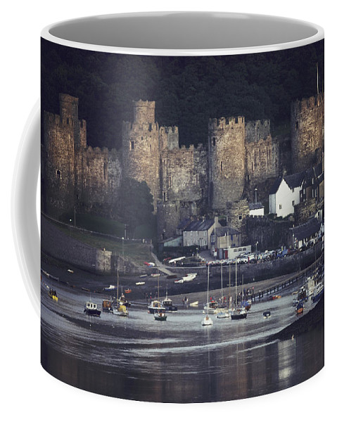Conwy Castle Coffee Mug featuring the photograph Massive Eight-towered Castle Looms by Farrell Grehan