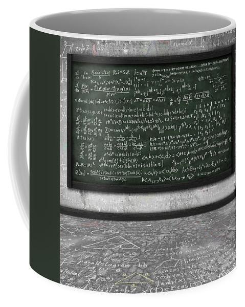 Algebra Coffee Mug featuring the photograph Maths Formula On Chalkboard by Setsiri Silapasuwanchai