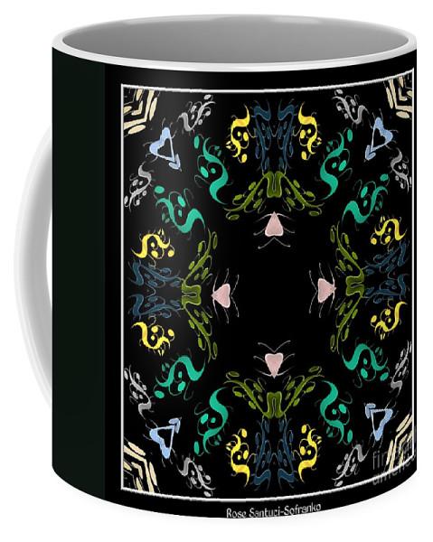 Metallics Coffee Mug featuring the digital art Metallic Flourishes Warp by Rose Santuci-Sofranko