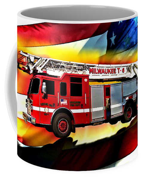 Fire Truck Coffee Mug featuring the digital art Milwaukee Truck 6 by Tommy Anderson