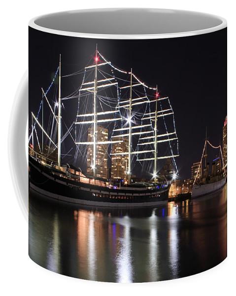 Missoula Boat Ship Night View Philadelphia Coffee Mug featuring the photograph Missoula At Nighttime by Alice Gipson