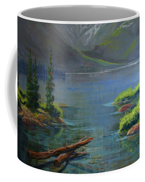 Misty Lake Coffee Mug featuring the painting Misty Lake by Heather Coen