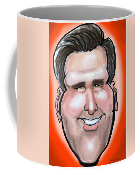 Mitt Romney Coffee Mug featuring the painting Mitt Romney Caricature by Kevin Middleton