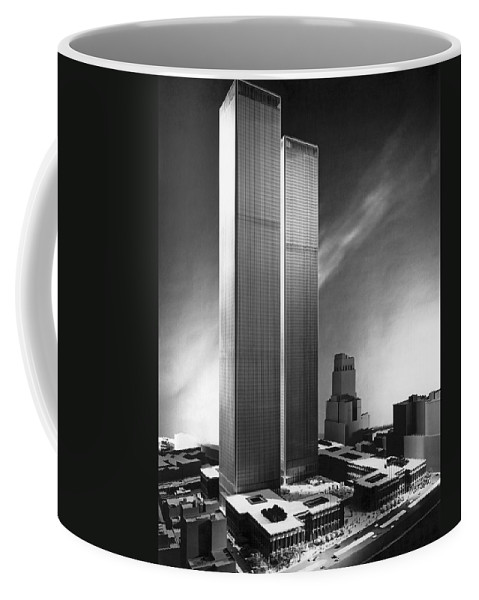 1960's Coffee Mug featuring the photograph Model Of World Trade Center by Underwood Archives