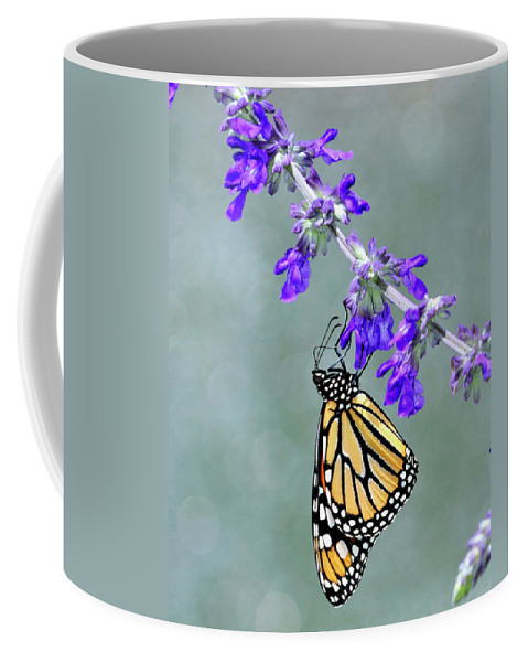 Monarch Coffee Mug featuring the photograph Monarch On Purple by Bill Dodsworth