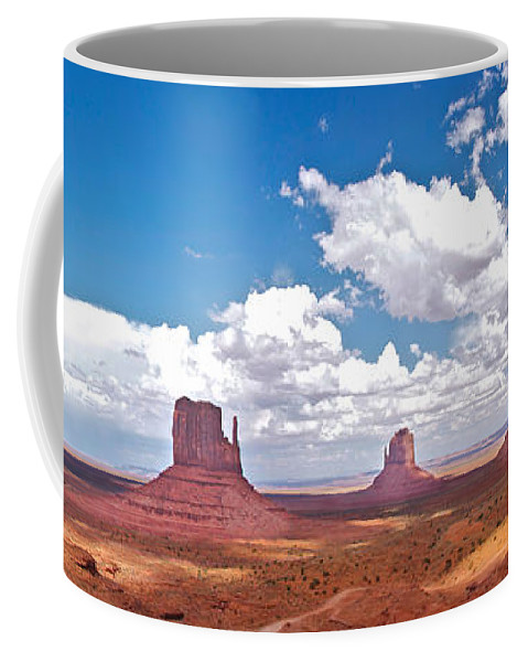 Monument Valley Coffee Mug featuring the photograph Monument Valley Pano by Constance Sanders
