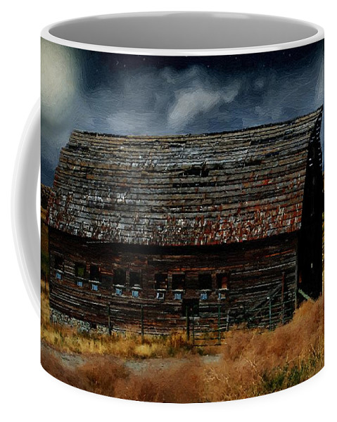 Landscape Coffee Mug featuring the painting Moody Moon by RC DeWinter
