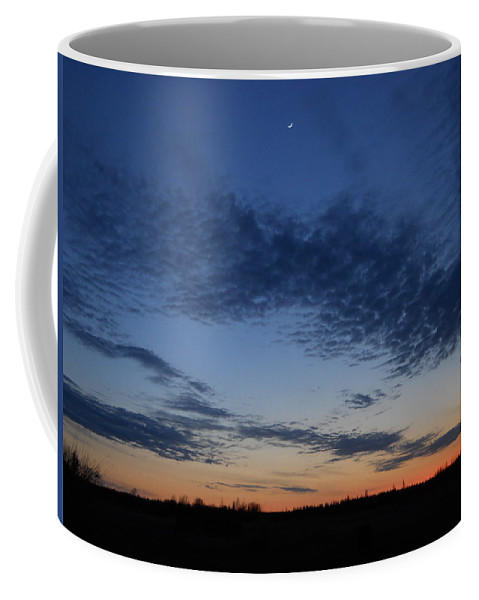 Moon Coffee Mug featuring the photograph Moon And Clouds At Dusk by Kent Lorentzen