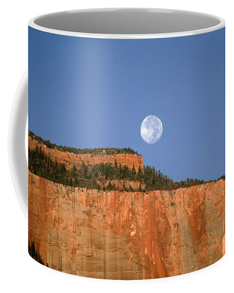 Zion National Park Coffee Mug featuring the photograph Moonrise Over East Temple - Zion by Sandra Bronstein
