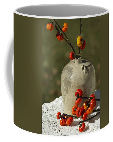 Pumpkin On A Stick Coffee Mug featuring the photograph Moonshine Jug And Pumpkin On A Stick by Kathy Clark