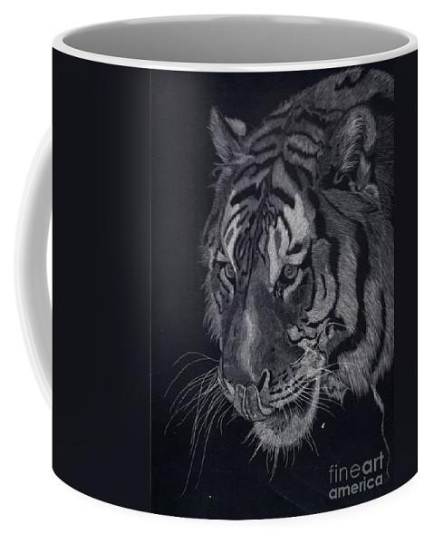 Tiger Coffee Mug featuring the drawing Moquito El Tigre by Yenni Harrison