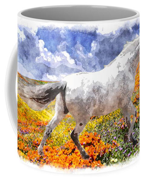 Horse Coffee Mug featuring the photograph Morisco In Spring Flowers by Vicki Podesta