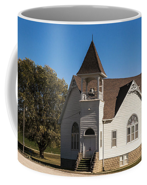 Rural School Coffee Mug featuring the photograph Morton Mills Church by Edward Peterson