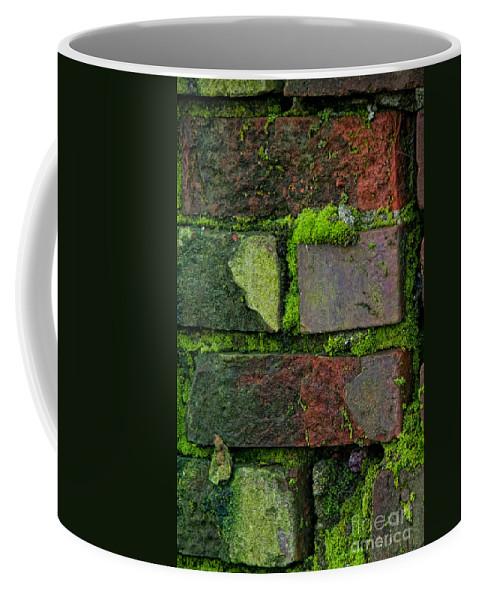 Canada Coffee Mug featuring the digital art Mossy Brick Wall by Carol Ailles