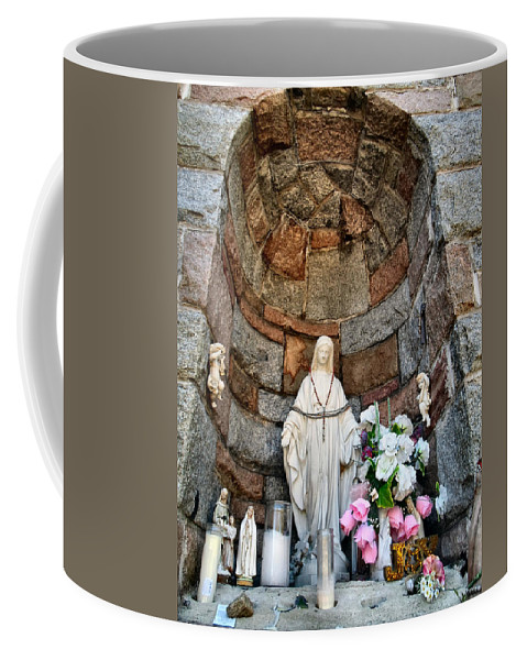 Shrine Coffee Mug featuring the photograph Mother Mary 2 by Art Dingo