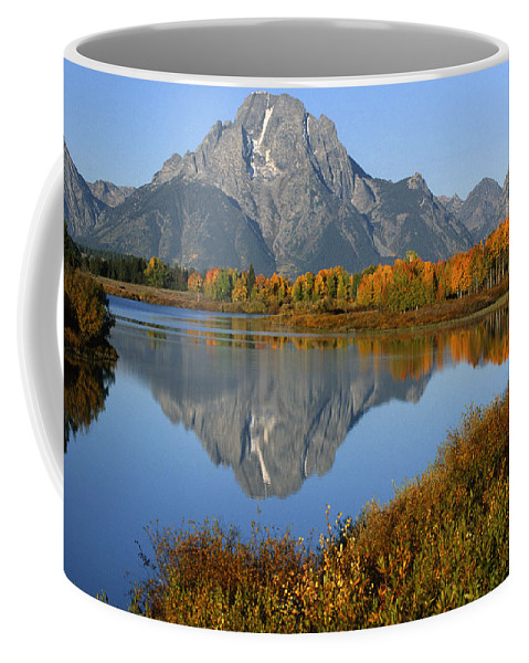 Grand Teton Coffee Mug featuring the photograph Mt. Moran Reflection by Sandra Bronstein