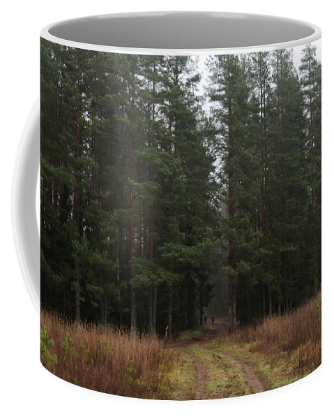 Forest Coffee Mug featuring the photograph Mushroom Pickers by Michael Goyberg