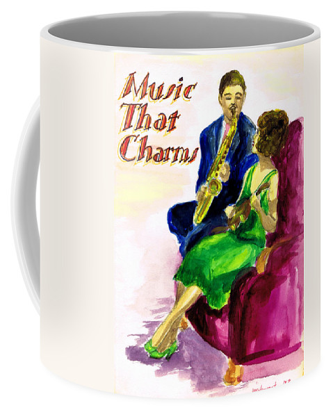 Nostalgia Coffee Mug featuring the drawing Music That Charms by Mel Thompson
