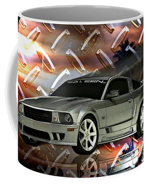 Mustang Coffee Mug featuring the digital art Mustang Saleen by Tommy Anderson