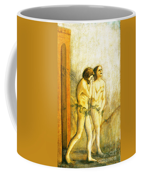 Masaccio Coffee Mug featuring the painting My Masaccio Expulsion Of Adam And Eve by Jerome Stumphauzer