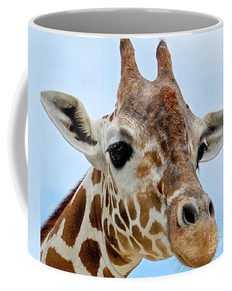 Giraffe Coffee Mug featuring the photograph My New Best Friend by Carol Bradley
