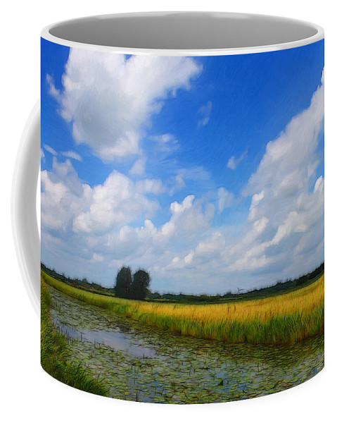Germany East Frisia Open Range Cloud Clouds Landscape Water River Lily Waterlily Grain Coffee Mug featuring the painting My Wonderful Eastfrisia by Steve K