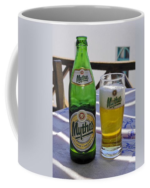 Mythos Beer Bottle Coffee Mug featuring the photograph Mythos Beer by Sally Weigand