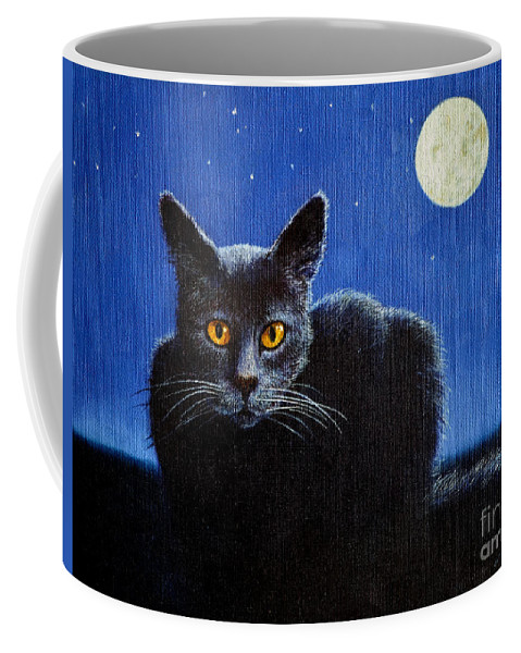 Cat Coffee Mug featuring the painting Name Of The Cat Nightmare by Christopher Shellhammer