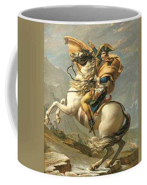 Emperor; Horse; Rearing; I; Male; Portrait; Saint; Riding; Saint-bernard; Saint Bernard; Iconic Coffee Mug featuring the painting Napoleon by Jacques Louis David