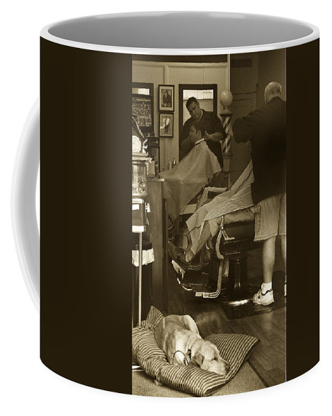 Dog Coffee Mug featuring the photograph Napping At The Barbershop by Steve Gravano