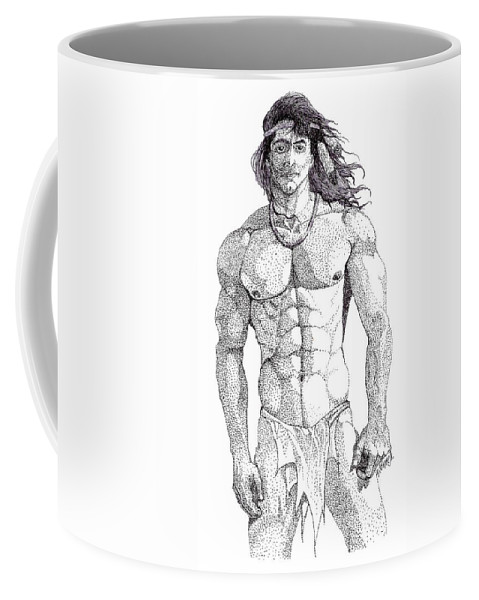 Portrait Coffee Mug featuring the drawing Native American Hunk by William Beyer